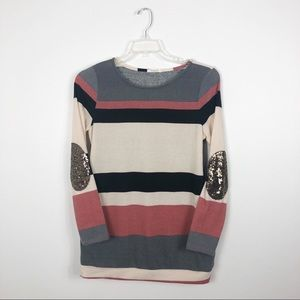 12 PM By Mon Ami Stripe Sequin Elbow Patch Sweater